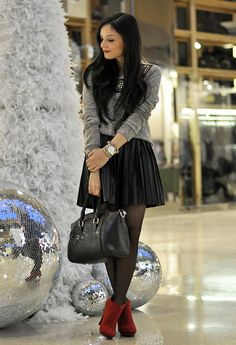 Blogger Day with Cup of Couple!  , glamorous in Sweaters, romwe in Skirts, Zara in Ankle Boots / Booties