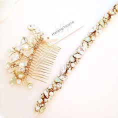 Opal Mint Crystal Bridal Belt Narrow Bridal by HelenaNoelleCouture (thinner version)