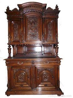 ~ French Antique Walnut Renaissance Cabinet/ Buffet ~ antiques-atlas.com