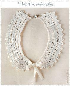 Col Crochet, Crochet Lace Collar, Thread Crochet, Filet Crochet, Peter Pan Necklace, Necklace For Neckline, Crochet Accessories, Beautiful Crochet, Crochet Clothes