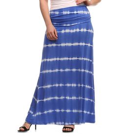 Look what I found on #zulily! Royal Blue & White Stripe Maxi Skirt - Plus by A La Tzarina #zulilyfinds