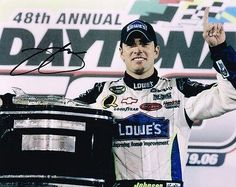 Autographed Jimmie Johnson Photo - 8X10 DAYTONA 500 TROPHY COA - Autographed NASCAR Photos by Sports Memorabilia. $78.07. JIMMIE JOHNSON signed NASCAR 8X10 DAYTONA 500 TROPHY photo with COA