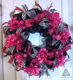 Hot Pink & Black Deco Mesh Wreath by AQuaintHaberdashery on Etsy, $105.00