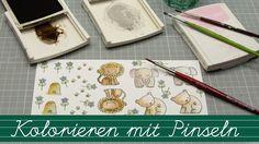 Stempelklasse #16 - Kolorieren mit Pinseln und Stempelfarben im Aquarell...
