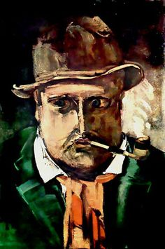 """Vlaminck, Maurice de (1876-1958) - Self Portrait Vlaminck first acquired the """"Derain' mask from a chance meeting with a traveller in a bar in Paris. Many French were employed in colonial West Africa and often brought artefacts back from their travels- these then changed hands or ended up in the many curio shops. Vlaminck showed the mask to Derain who offered to purchase it from him"""