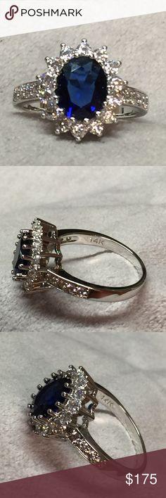 Natural 3.26ct Sapphire Diamond 14k White Gold Natural 3.26ct Sapphire Diamond 14k White Gold Ring.                                                                     Material :  14k white gold (14k Stamped ) Main Stone: Sapphire.                                   Quality: AAA Jewelry Rings