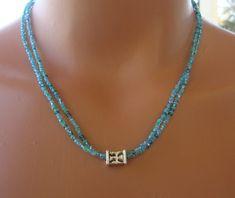 Dainty aqua seed bead necklace simple seed bead by TamDavisDesigns, $14.00