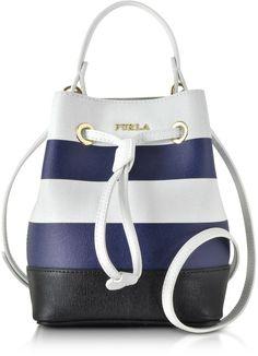 Furla Stacy Chalk & Navy Blue Striped Leather Bucket Bag