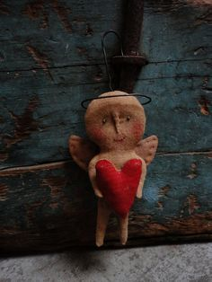 Primitive Hanging Angel Holding Heart Called All by joleecaldwell