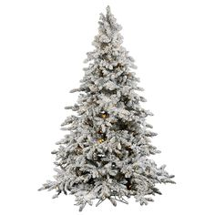 "4.5' x 41"" Flocked Utica Fir Tree with LED Warm White Lights"