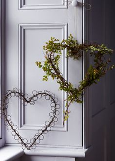 Rusty Wire Heart  Thread with herbs or flowers for a fragrant wreath