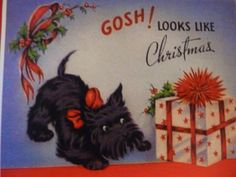 Vintage Scotty Christmas Card. $2.95, via Etsy.
