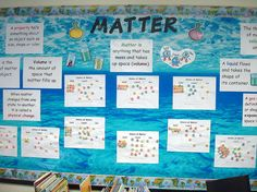 """I typed up signs for the key words and definitions the students need to know for our matter unit. In the middle of the board, I displayed student work. The students used Froot Loops to visualize the differences between solids, liquids, and gasses. The background paper is from a roll I bought at the teacher store."""