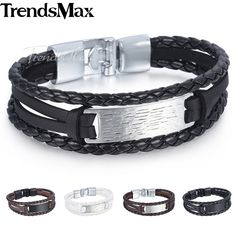 Trendsmax ID Bar Charm Bracelet Wristband Womens Mens Chain Handmade Leather Braided Rope Link Silver Black 11mm KLBM115 #Affiliate