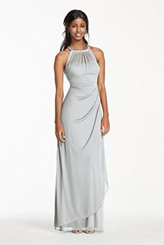 Long Mesh Bridesmaid Dress With Illusion Neckline Style F15662 Mystic 0 David S Bridal Http