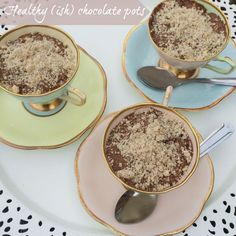 Healthy ish chocolate pots, kids in the kitchen via The Mad House. Chocolate pots with a secret ingredient avocado
