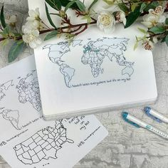 """I haven't been everywhere but it's on my list"". I'm love with this spread. Still not a lot of color but I'm working on it. How colored is yours? The United States and a map of the world are now available at the shop. Europe's coming soon!"