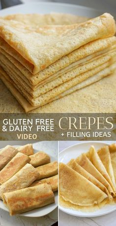 Gluten Free Crepes Recipe (Dairy Free) + Sweet Or Savory Filling Ideas. These easy gluten free crepes are made in a blender and can be served sweet or savory. Plus a video will show you exactly how to make these gluten free crepes. Crepes Sin Gluten, Pizza Sin Gluten, Dessert Sans Gluten, Bon Dessert, Dairy Free Diet, Vegan Gluten Free, Paleo, Gluten Free Dairy Free Bread Recipe, Gluten Free Breads