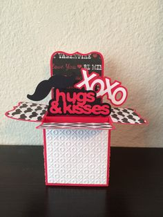 Hugs & Kisses Box Card/ Male Valentine Card/ by ChrisiesCollection