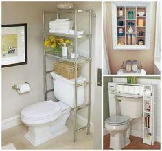 10 truques para banheiros pequenos {Blog Divirta-se Organizando} Sweet Home Alabama, Toilet Paper, Bookcase, Towel, Shelves, Bathroom, Storage, House, Home Decor