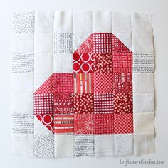 "Patchwork heart block using the Sizzix 2.5"" square BigZ die - by Leigh Laurel Studios"