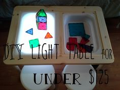 DIY light table hack from Ikea Children's storage desk.
