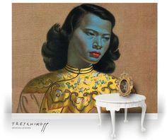 The masterpiece of kitsch painting - Vladimir Tretchikoff's blue-faced Chinese Girl Tamara Lempicka, Kitsch Art, Kitsch Decor, Karla Gerard, Mona Lisa, South African Artists, Painting Of Girl, Of Wallpaper, Fine Art Prints