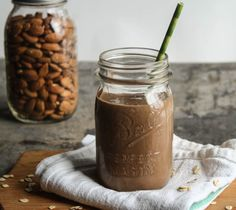 chocolate-almond oatmeal smoothie - Dishing Up the Dirt