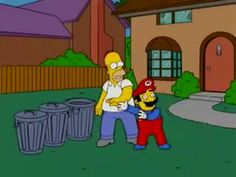 Super Mario on The Simpsons Simpsons Videos, Simpsons Funny, The Simpsons Movie, Simpsons Quotes, Simpsons Characters, Simpsons Art, Memes Mario, Mario Funny, Funny Mario Videos
