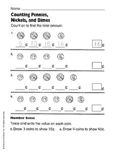 Free Counting Money Worksheets Count The Coins To 1 Dollar