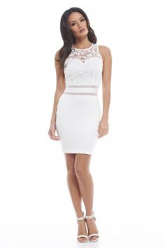 Ax paris Bodycon Dress With Mesh Insert And Eyelash Lace Trim in
