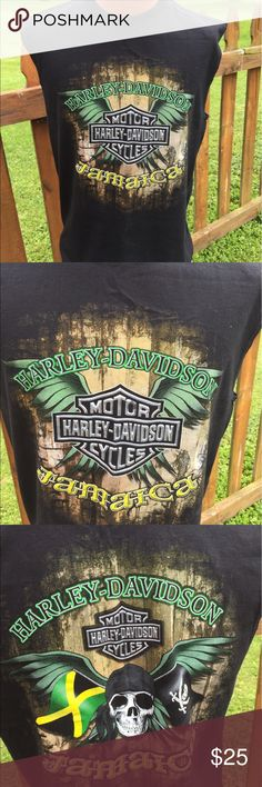 Harley Davidson Jamaica Mens Sleeveless Shirt Size large. Super gently preowned. Be sure to view the other items in our closet. We offer both women's and Mens items in a variety of sizes. Bundle and save!! Thank you for viewing our item!! Harley-Davidson Shirts