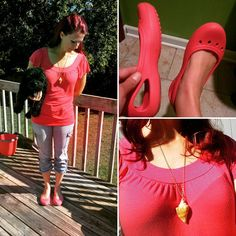 """""""#thrifted coral top from #crossroadstrading in #udistrict #Seattle  #secondhand #croppants  #crocs #balletflats  #inherited #shellnecklace Crocs meet…"""""""