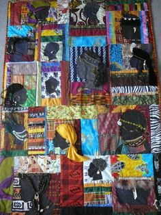 """15 African Tribes"" Quilted Wall Hanging.  A 2 year Journey created in 2009"