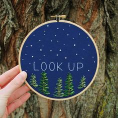 Starry Look up embroidery 6 hoop  pine
