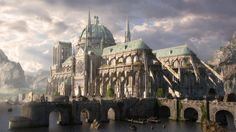 [image] Title: Cathedral of blessed waters Name: Alexander Lang Country: DE Software: max VRay ZBrush Photoshop Submitted: March 2016 In a landside, where two rivers flow into a lake, many unexplainable eve… Fantasy City, Fantasy Places, Sci Fi Fantasy, Fantasy World, Fantasy Concept Art, Fantasy Artwork, Buildings Artwork, Minecraft, Building Art