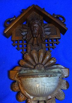 Vintage German Wood Carved Christianity Holy Water Font Jesus #AP3