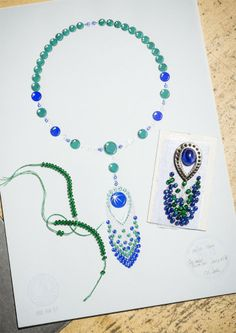 Piaget Necklace in 18K white gold set with 53 emerald beads, 44 blue sapphire beads , 1 cabochon-cut blue sapphire 10 pear-shaped blue sapphires, 9 pear-shaped diamonds, 24 round emeralds, 24 brilliant-cut diamonds and 4 round blue sapphires. #Piaget # jewelry