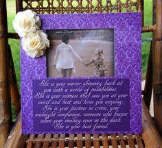Deep Purple Damask Picture Frame w Best Friend quote, Sweet Bestie Gift, Handmade burlap flowers, by ImpressionsByMisty, $40.00