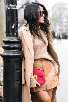 All Beige :: Camel coat & Red Chloe Drew