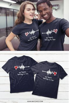 Cute Couple Shirts, Couple Tees, Couple Stuff, T Shirts For Couples, Couple Gifts, Couple Pajamas, Matching Couple Outfits, Matching Couples, Matching Pjs
