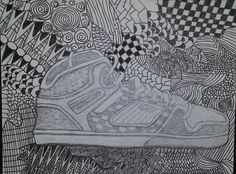 Drawing from observation and zentangles
