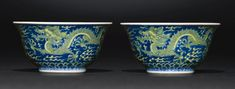 A FINE PAIR OF BLUE AND YELLOW 'DRAGON' BOWLS<br>QIANLONG SEAL MARKS AND PERIOD | Lot | Sotheby's