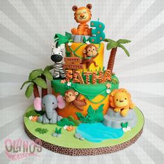 Hobbies In Chinese Key: 9103055018 Jungle Birthday Cakes, Jungle Safari Cake, Jungle Theme Cakes, Safari Theme Birthday, Animal Birthday Cakes, Safari Cakes, Animal Cakes, 1st Boy Birthday, Theme Bapteme