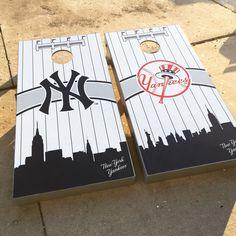 New York Yankees Cornhole set by mutha shuckers
