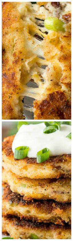 Loaded Mashed Potato Cakes ~ Easy and delicious... Filled to the brim with bacon, cheese, green onions and of course – mashed potatoes!