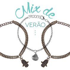 Pulseiras fininhas, ideal para criar um mix fashion, no estilo pulseirismo!  #pulseiras #pulseirinha #pulseirismo #hamsa #conchinha #trendbijoux