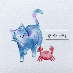 *SOLD* Zodiac cat for cancer 🦀♋️ kitty's face turned out way darker than I intended but I think it still looks OK? I think I'll try and do… Watercolor Drawing, Watercolor Cards, Painting & Drawing, Cool Art Drawings, Drawing Sketches, Animal Sketches, Animal Drawings, Art Journal Inspiration, Art Inspo