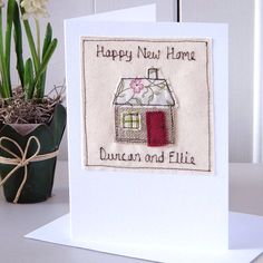 Easy Colorful Thanksgiving Crafts and Activities New Home Cards, House Of Cards, New Home Gifts, Thank You Teacher Gifts, Teacher Cards, Embroidery Cards, Free Motion Embroidery, Freehand Machine Embroidery, Free Machine Embroidery