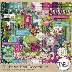"""31 Days Has December Digital Scrapbooking Full Kit Christmas Holidays - I don't know about you, but for me, December is the busiest, but BEST time of the year! From shopping for Christmas presents, to attending my niece's & nephew's Christmas pageant, to pictures with Santa and holiday baking… each and every day is jam-packed full of fun! """"31 Days Has December"""" was created with the hustle and bustle of the month of December in mind."""